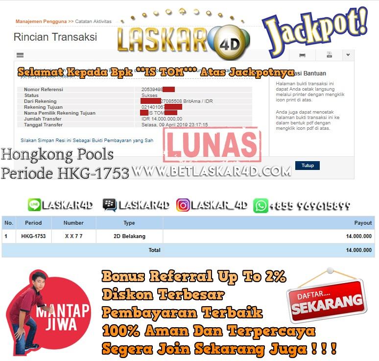 Mantap Djiwaaa Dapet Jackpot Langsung Lunas Betting di Togel Laskar4D