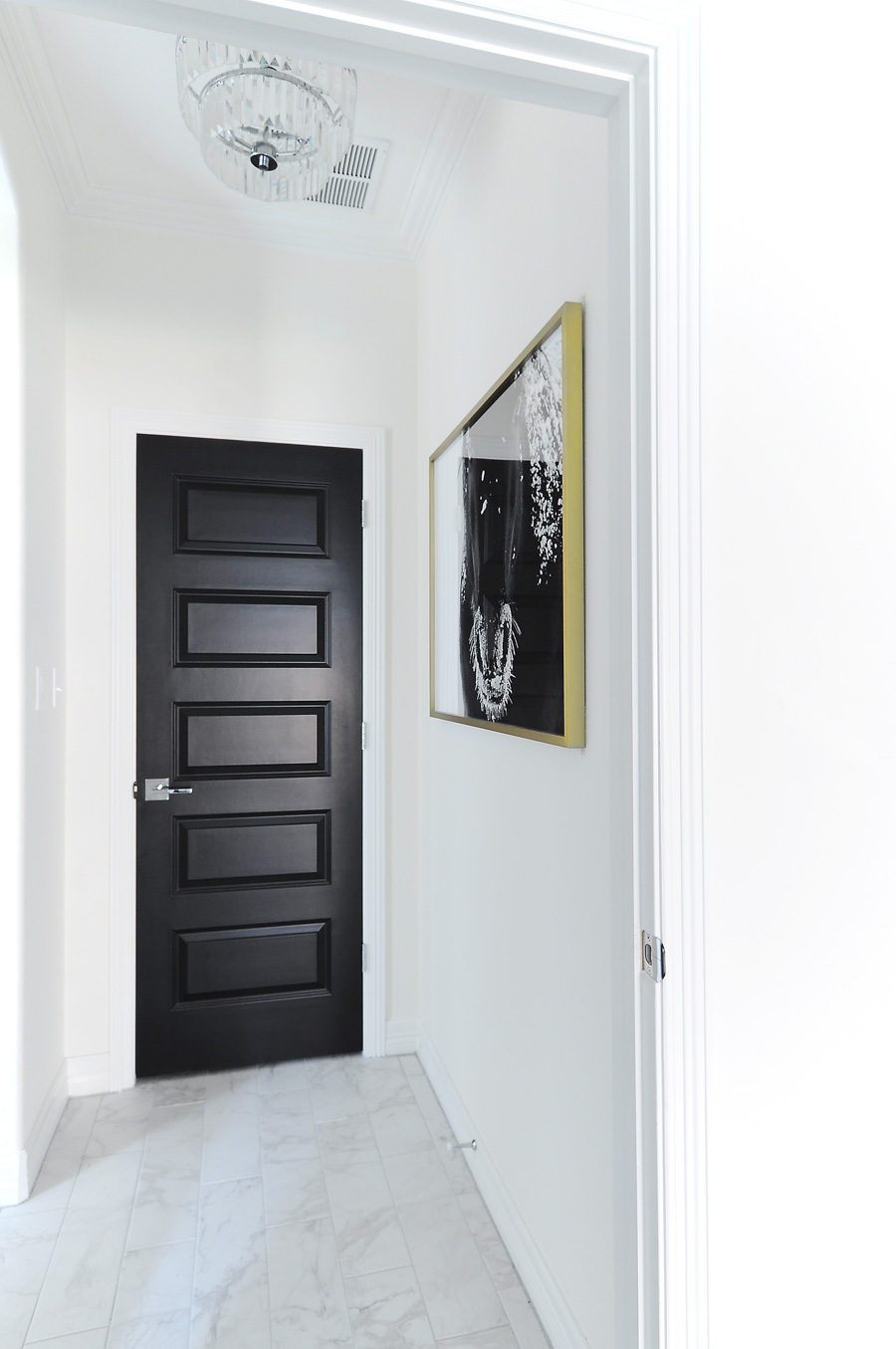 Black interior doors make a bold statement against white walls in this modern home with traditional  sc 1 st  Monica Wants It & Living with Black Interior Doors: 6 Month Update - Monica Wants It