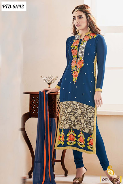 Long straight cut Neha Sharma Style blue color georgette churidar salwar suit