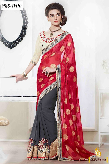 Karva Chauth special red georgette embroidery saree online shopping at pavitraa.in