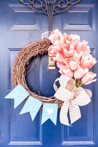 Beautiful and Easy Spring Tulip Wreath from Simply Made Fun