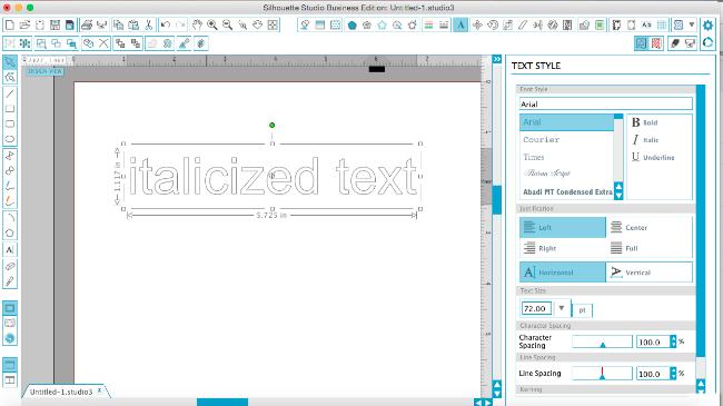 italicize text silhouette studio tutorial, silhouette studio fonts, italics