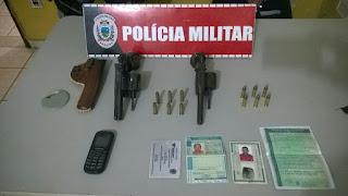 Policiais Militares da 3Cia/7BPM prendem elementos com duas armas de fogo em Sapé