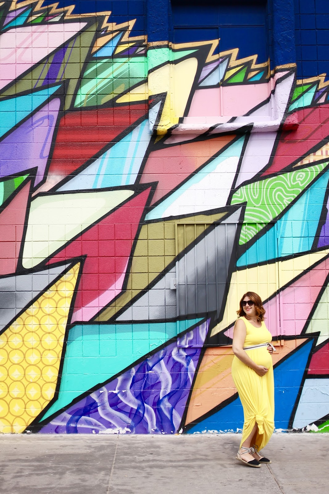 soludos, yellow maxi dress, red hair, maternity outfit, cute outfit, las vegas street art, mural