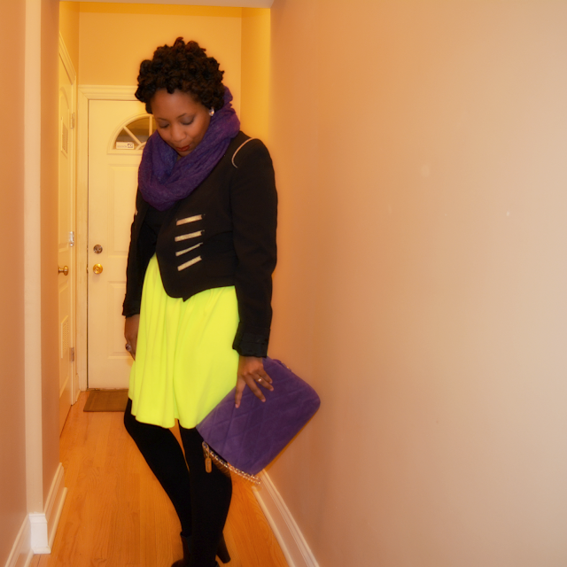 military jacket worn with neon skater skirt