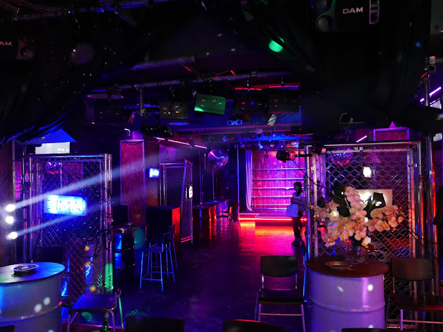 The colorful space of gay bar Village in Doyamacho, Osaka, Japan.