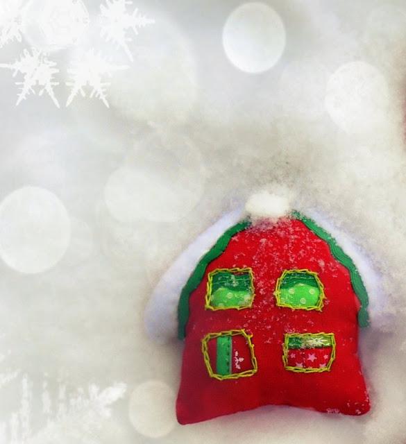 елочная игрушка домик, домик новогодний