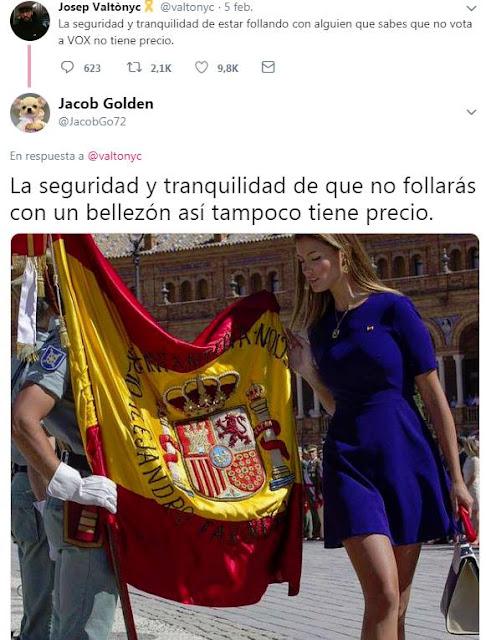 Josep Valtònyc: la seguridad y tranquilidad de estar follando con alguien que sabes que no vota a VOX no tiene precio.    VS Jacob Golden
