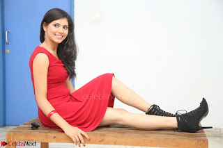 Mounika Telugu Actress in Red Sleeveless Dress Black Boots Spicy Pics 007.JPG