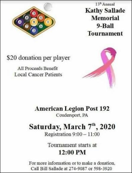 3-7 13th Annual Kathy Sallade Memorial 9-Ball Tournament