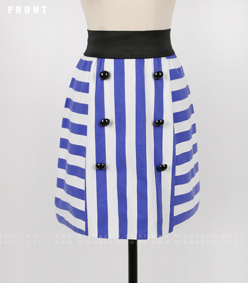 Striped Button-Front Accent Skirt
