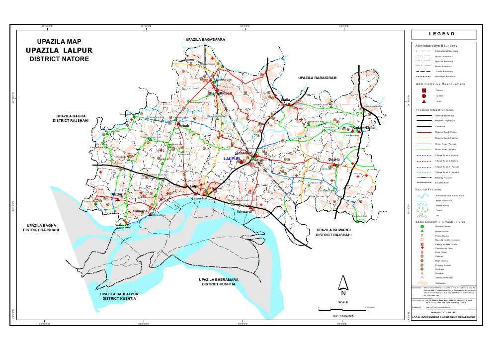 Lalpur Upazila Map Natore District Bangladesh