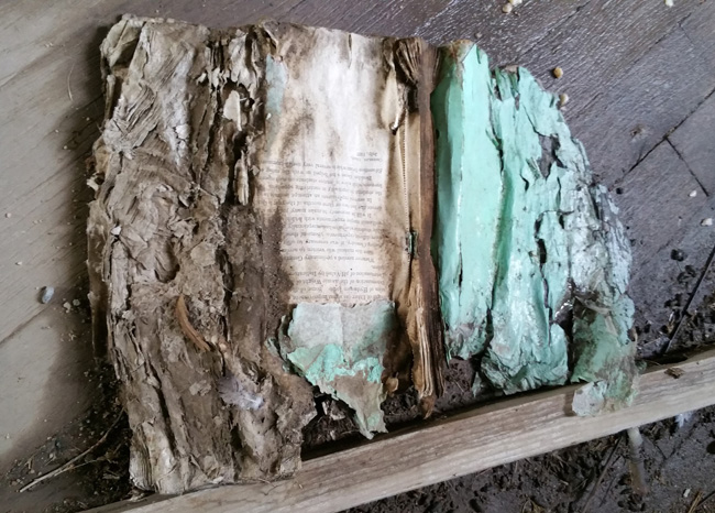 Decaying book in the abandoned Ruins of Ludlow, Colorado Ghost Town