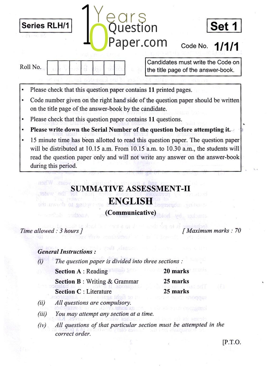 CBSE Sample Papers for class 10 English Language and Literature 2019