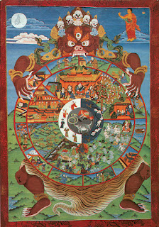 Lord Yama, the god of death, holding the Wheel of Life (bhavachakra). Sorry but I do not have and could not find any source information for this image. Apologies to the creator.