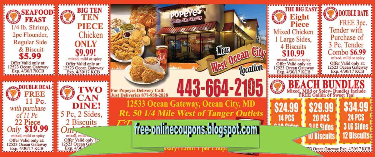 Popeyes fried chicken coupons 2018