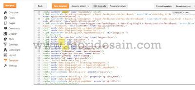 setting meta tag Colorindo Blogger Template Profesional