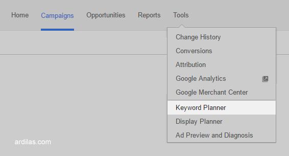 Menu Tools, keyword planner - Cara Terbaru Riset Menggunakan Google Keyword Planner