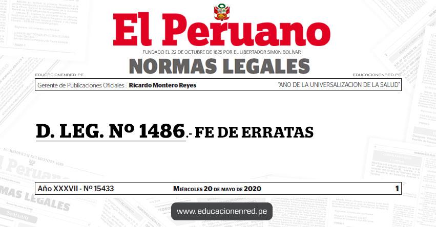 D. LEG. Nº 1486.- FE DE ERRATAS