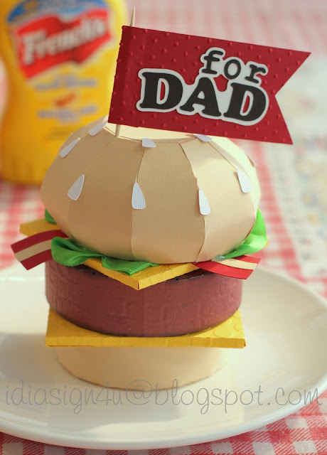3D Paper Cheeseburger Treat Box | Father's Day Gift for Dad by ilovedoingallthingscrafty.com