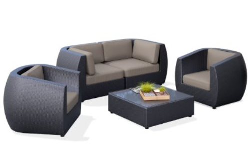 CorLiving PPS-602-Z Seattle Curved 5 Piece Sofa and Chair Patio Set, Outdoor Furniture, Curved Patio Furniture, Modern Curved Sectionals, Curved Sectional, Curved Patio Furniture,
