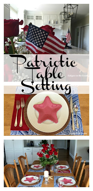 Patriotic Table Setting - Adding simple touches to a summer table to decorate for the 4th of July or even Flag Day!  Calypso in the Country blog