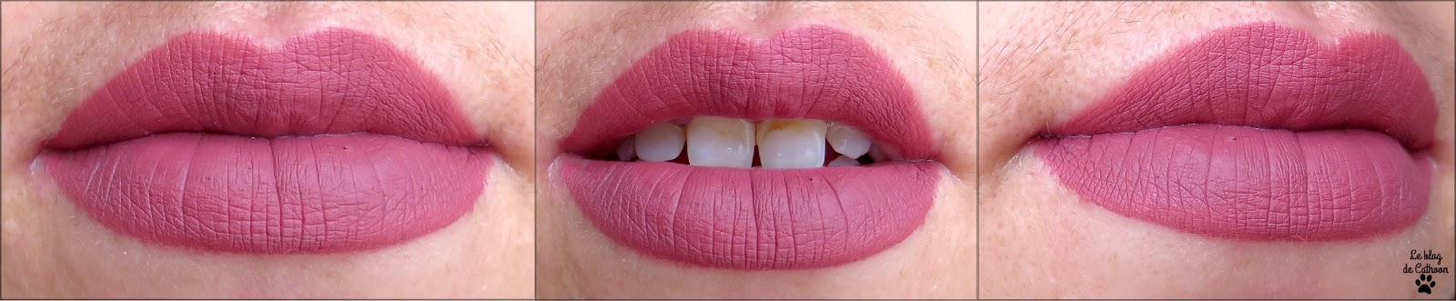 swatch liquid lipstick matte Charming The Balm