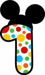 Números del 1 al 5 con Círculos de Colores y Orejas de Mickey.