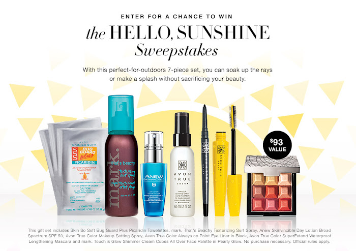 Enter for a chance to win the Avon Monthly sweepstakes. This Month sweepstakes Avon is sponsoring a sweepstakes named The Hello, Sun Shine Sweepstakes