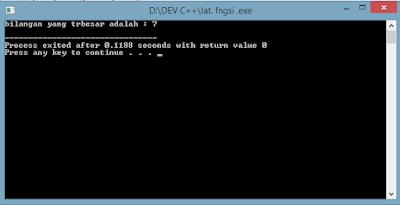 Program Fungsi Menampilkan bilangan terbesar menggunakan bahasa C
