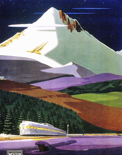 1950 illustration of a train in snowy mountains
