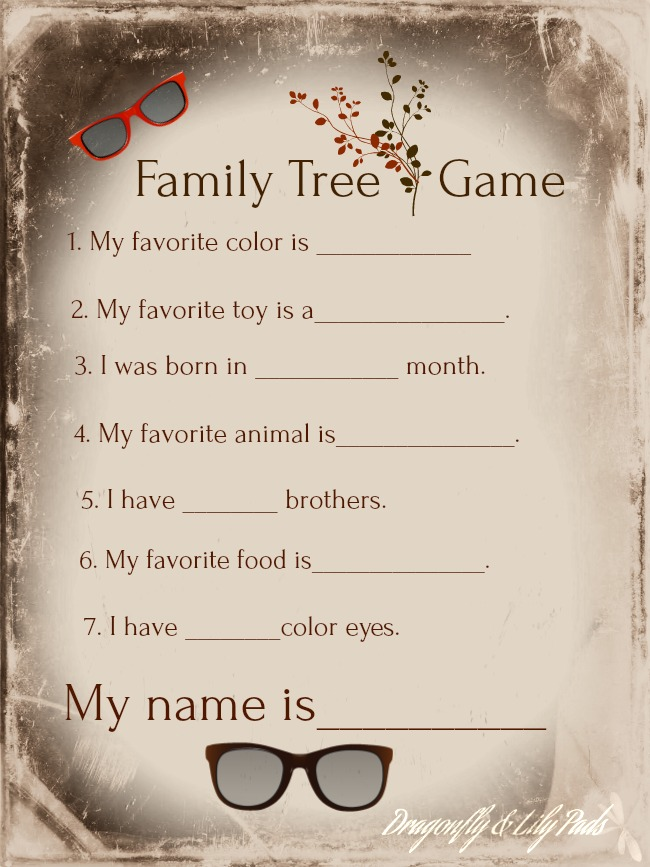 Free Printable Family Tree Game, Copy for personal use only.