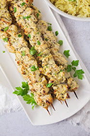 These savory and flavorful greek chicken skewers are an easy and delicious weeknight meal!