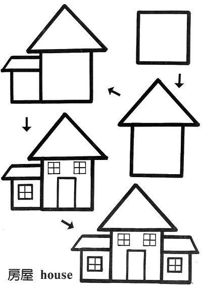 Learn to draw a house  for kids