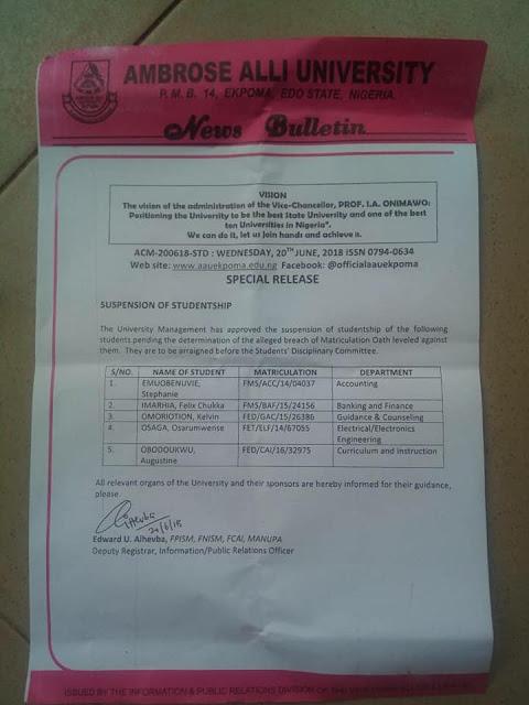 AAU Ekpoma List of Suspended Students on Alleged Violation of Matriculation Oath