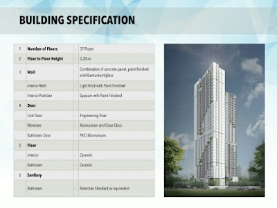 Spesifikasi evencio, spesifikasi unit, spesifikasi apartemen