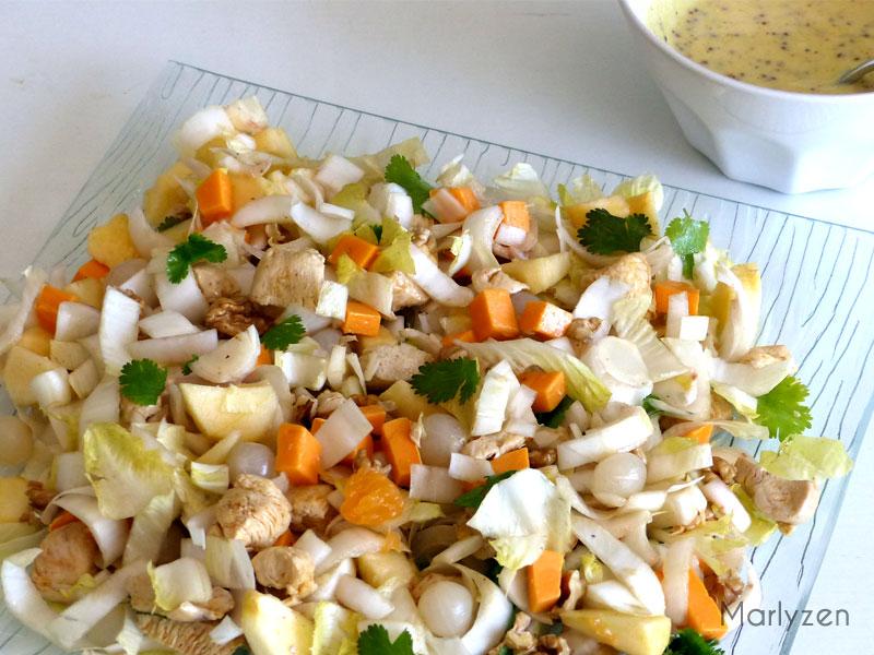 Salade d'endives au poulet, noix, pommes, mimolette...