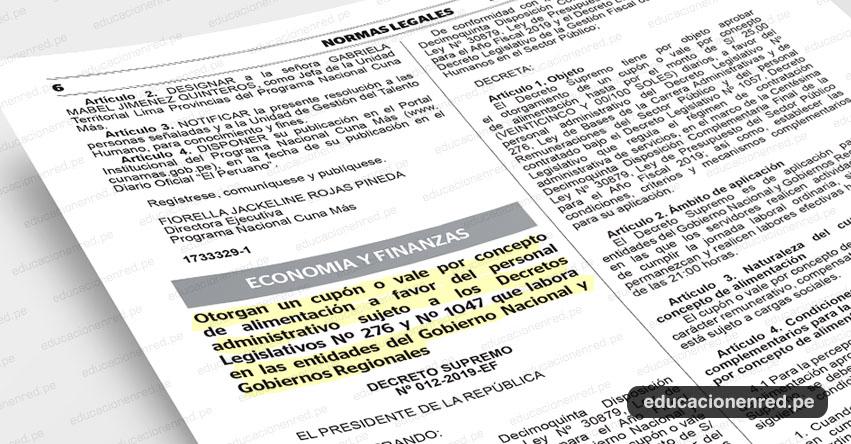 Gobierno entregará vale alimenticio a personal administrativo del sector público (D. S. Nº 012-2019-EF)