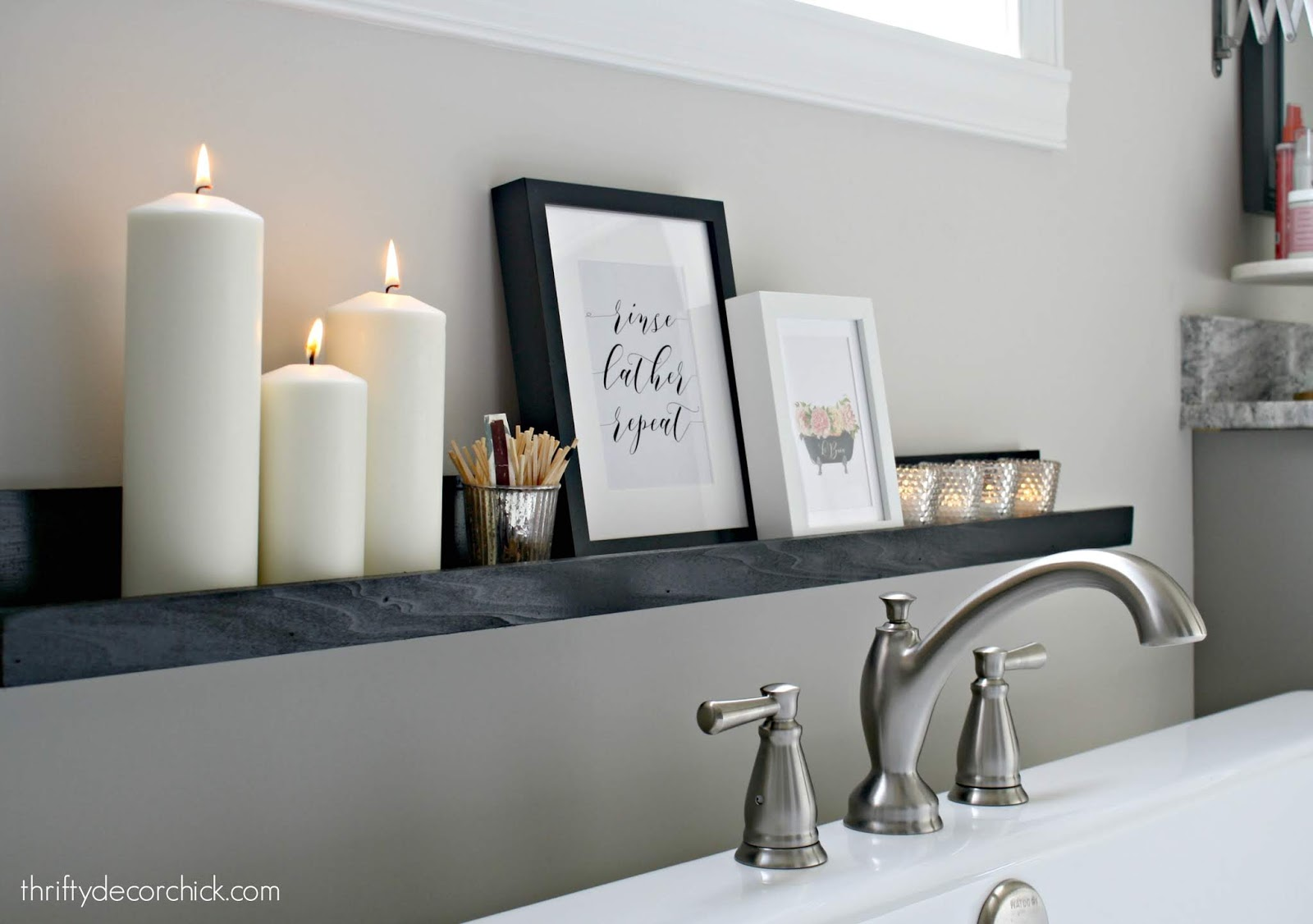 How to make a simple wood shelf for candles in bathroom