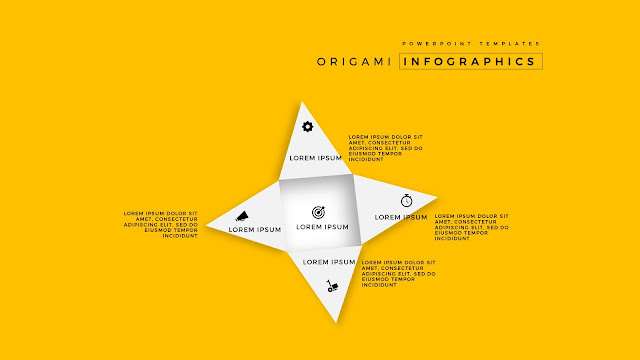 4 Icon options of Abstract Origami Infographics for PowerPoint Templates in Yellow Background
