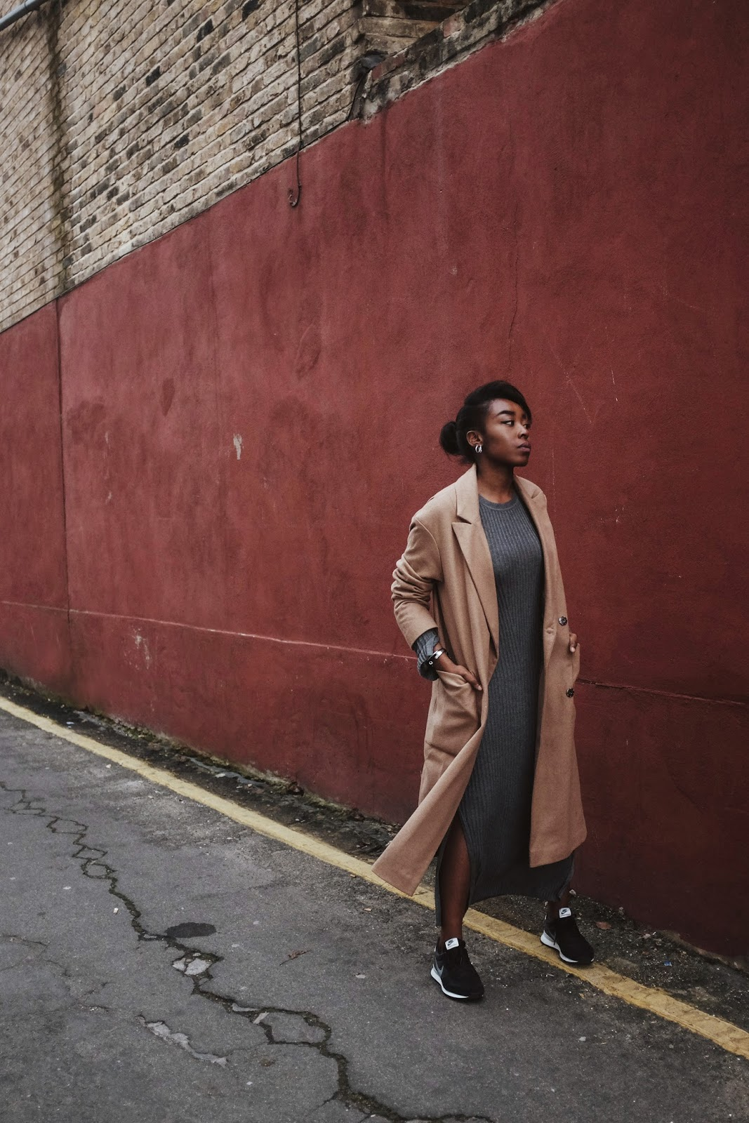 UK Fashion Blogger Camel ASOS Wool Coat Grey H&M Ribbed Knit Dress Nike Internationalist Trainers Silver Timex Watch
