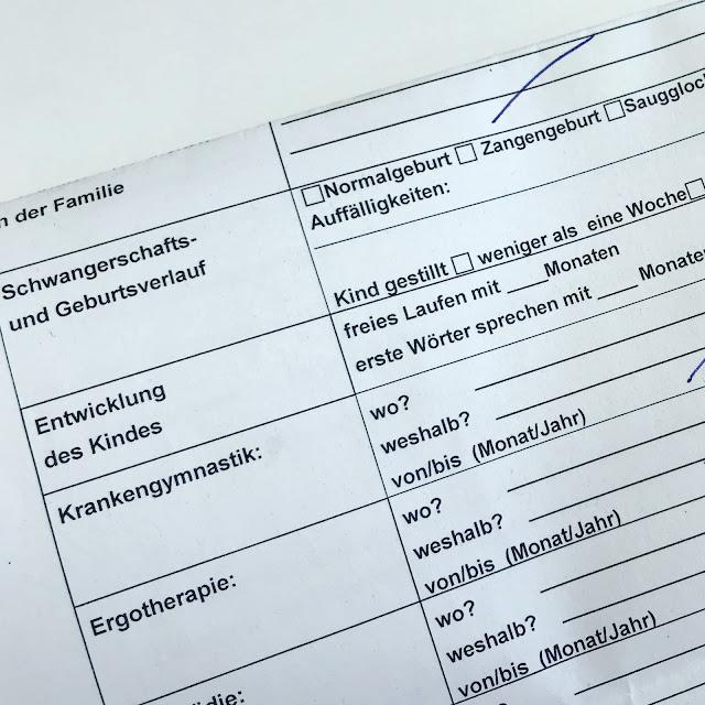 Fragebogen zur Einschulungsuntersuchung