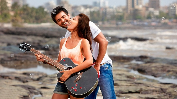 Romantic Couple Playing Guitar Wallpaper