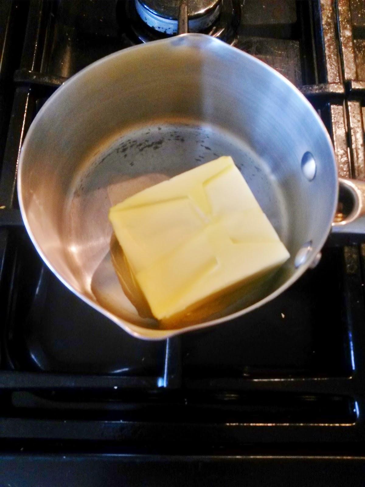 Melting butter for flourless cake