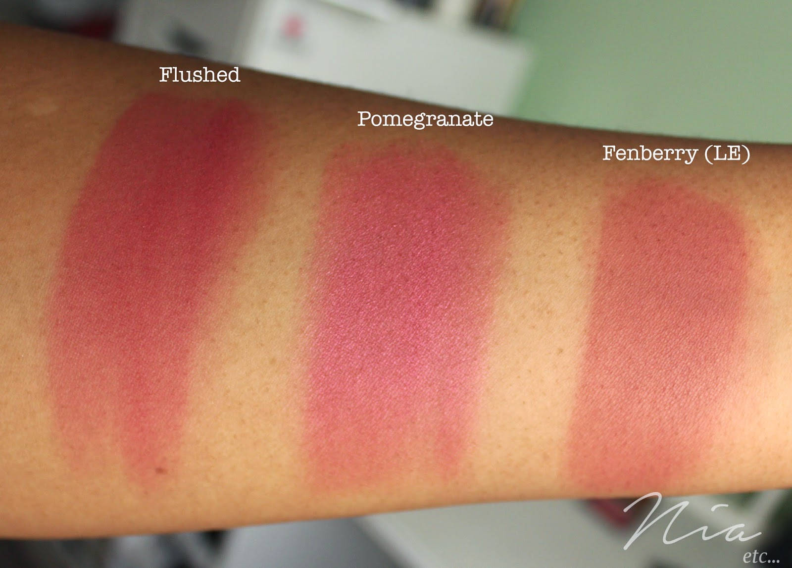Sleek MakeUp Blushers in Flushed, Pomegranate and Fenberry Swatches