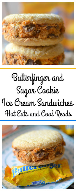 A fun and delicious snack or party treat! Great way to use BUTTERFINGER® Fun-Size candy bars! Butterfinger and Sugar Cookie Ice Cream Sandwich Recipe from Hot Eats and Cool Reads