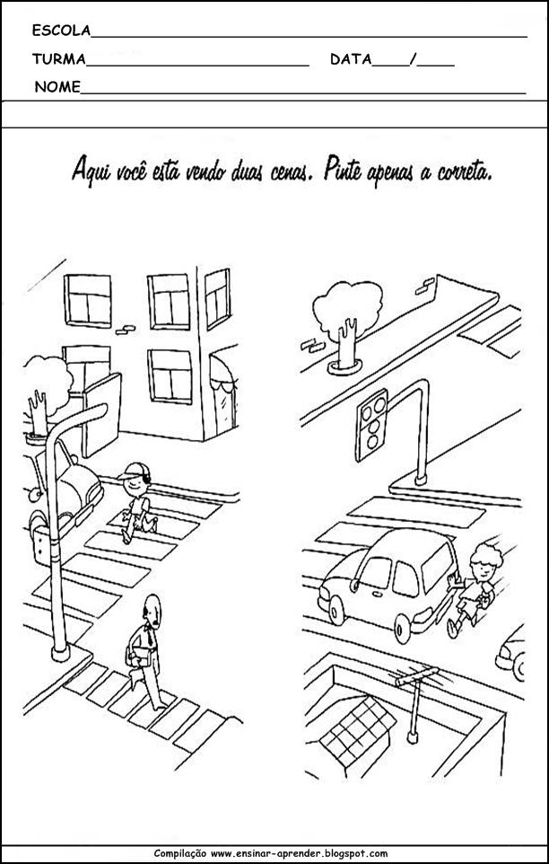 Atividades Infantis Com Desenhos - sobre o Trânsito ...