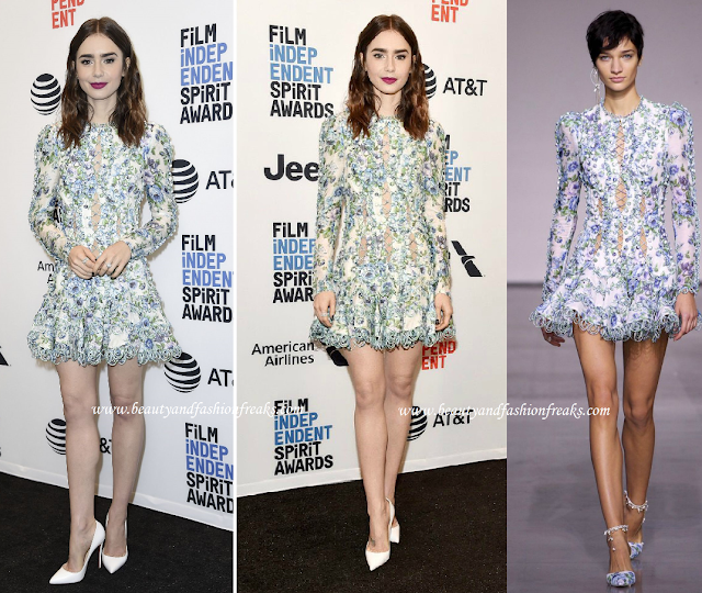 Lily Collins in a Zimmermann Floral Dress