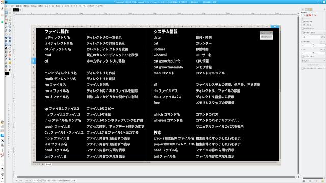 Linux コマンド早見表壁紙をGIMPで作成