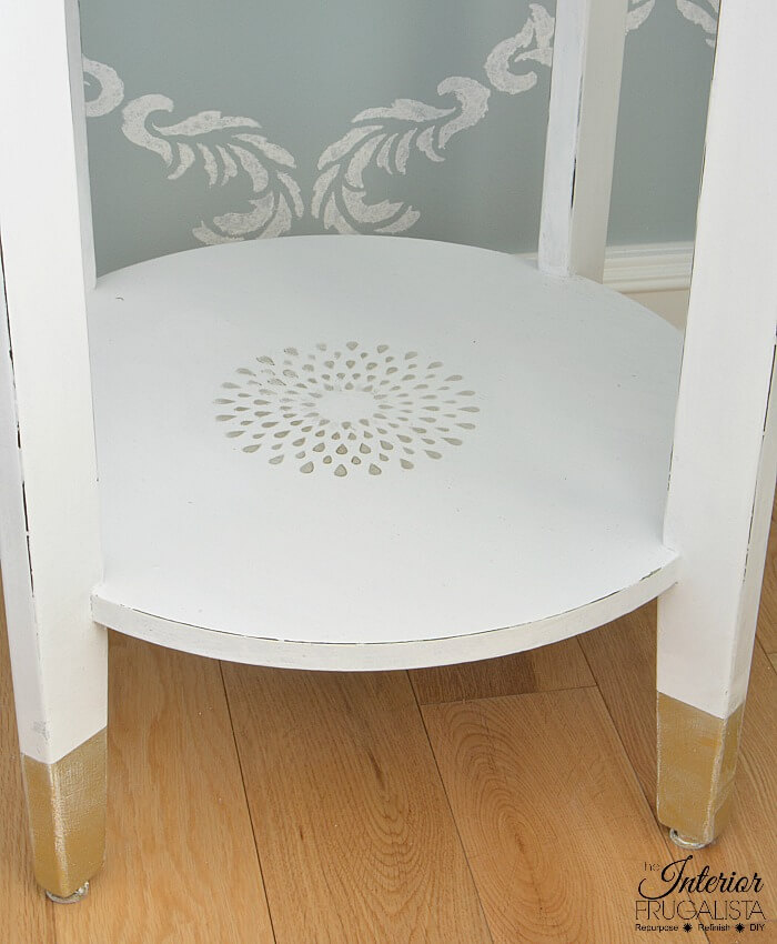 Inexpensive Box Store Table Stenciled Bottom Shelf